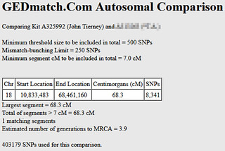 Gedmatch single segment match of 68.3 centimorgans