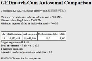 Gedmatch single segment match of 68.3 centimorgans