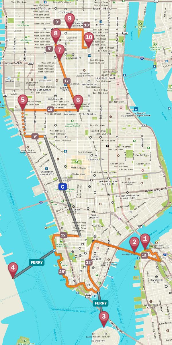 Mapa del mejor tour fotográfico por Nueva York
