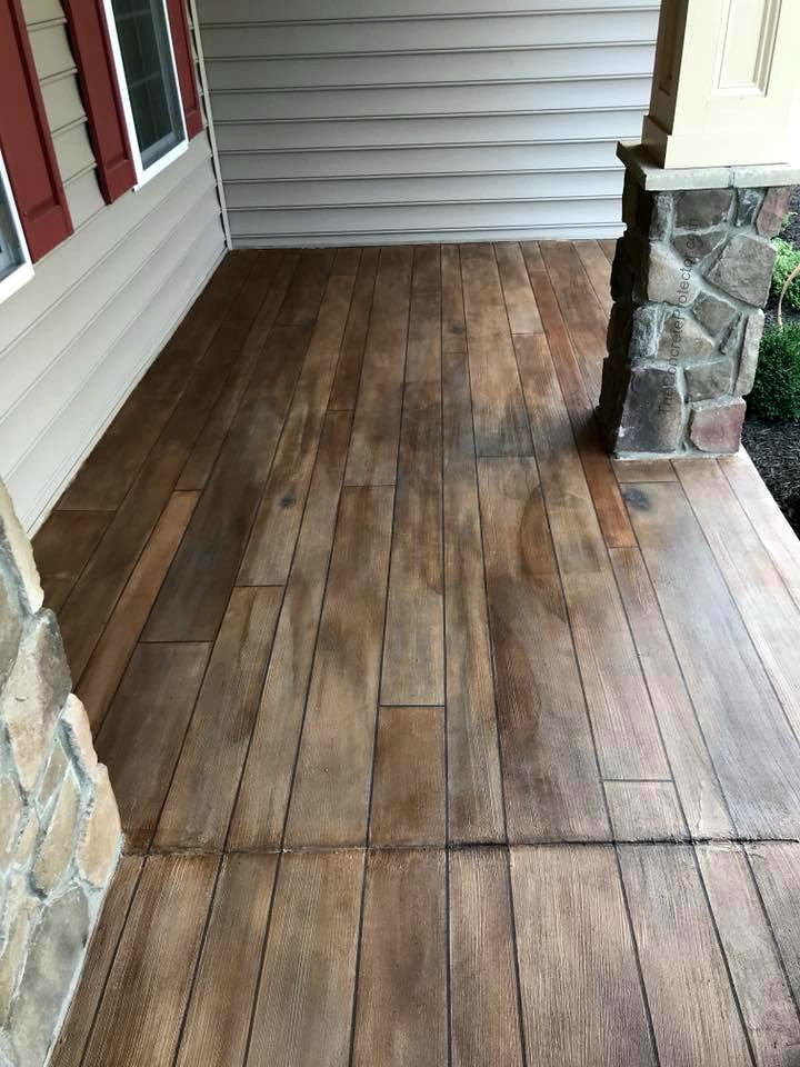 Rustic Concrete Wood Porch Tailored Concrete Coatings Bo