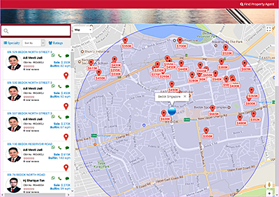 You can search for properties on sale or for rental and see a geographical spread of those available on a map.