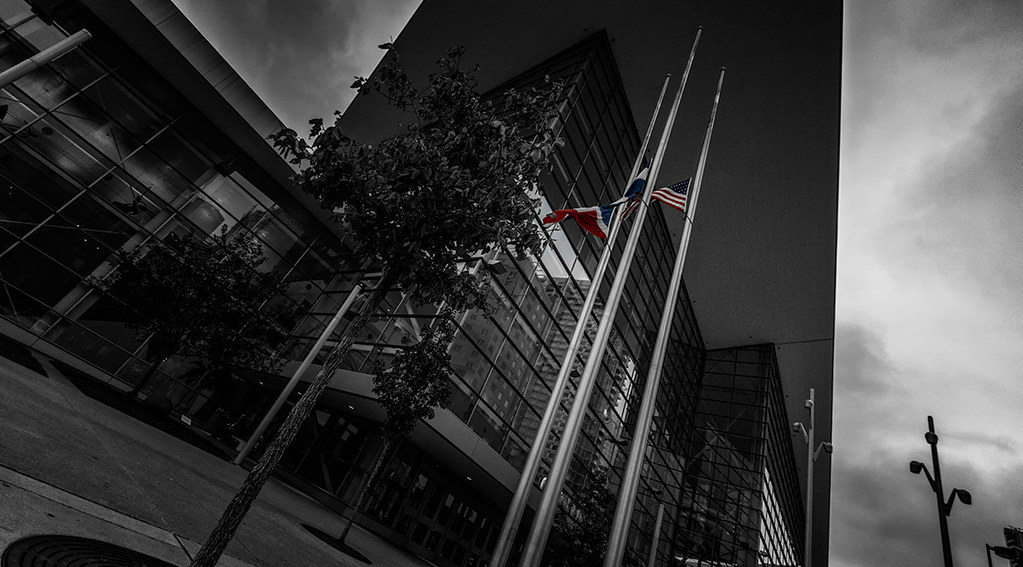 Denver Convention Center: Flags at Half-Mast