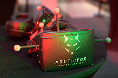 Using Arctic Fox VR technology, players don only a wireless headset that features a high definition screen and gaming headphones for an immersive surround sound experience.