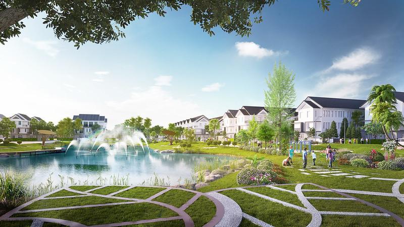Phối cảnh công viên hồ sinh thái nhà phố Park Riverside quận 9