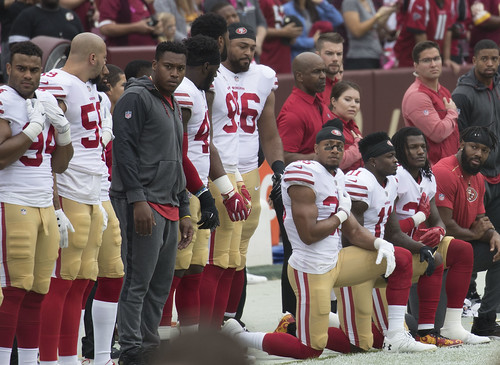San Francisco 49ers National Anthem Kneeling | by Keith Allison