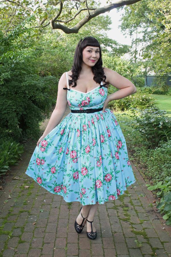 rose print pinup dress