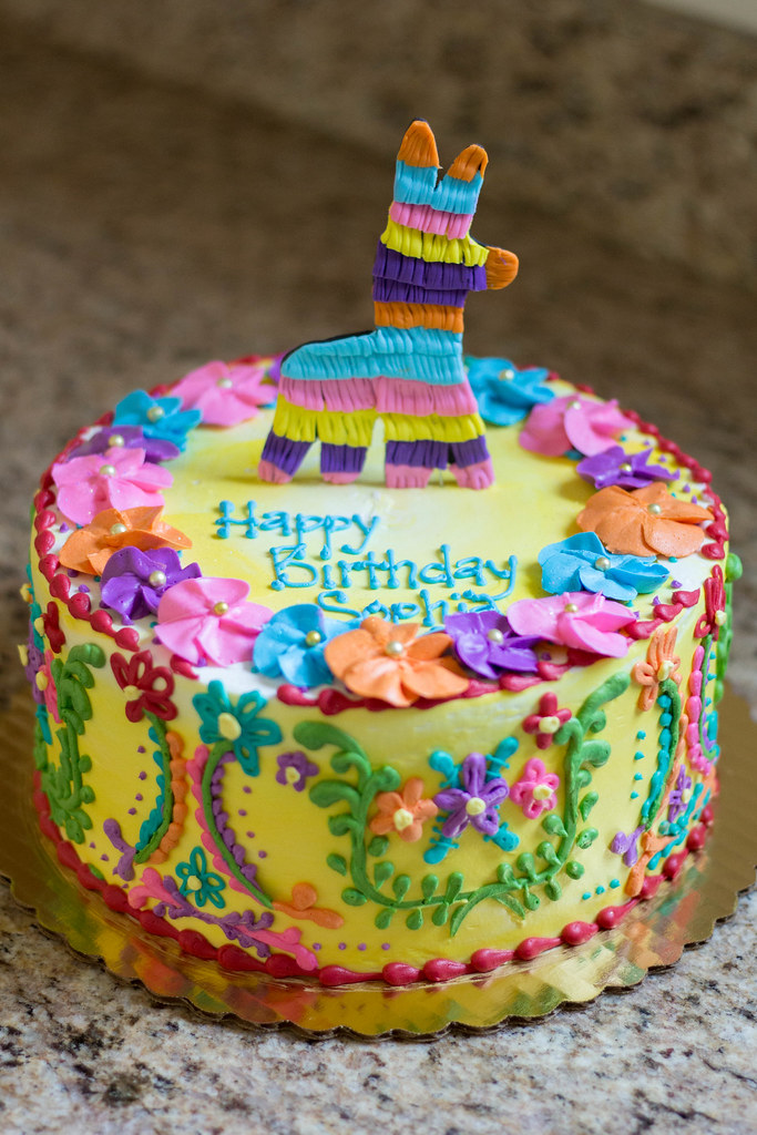Mexican Embroidery Cake W Piñata Topper By Grace Ful Cakes
