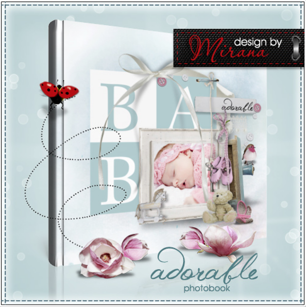 Template of photobook for a newborn – cute baby