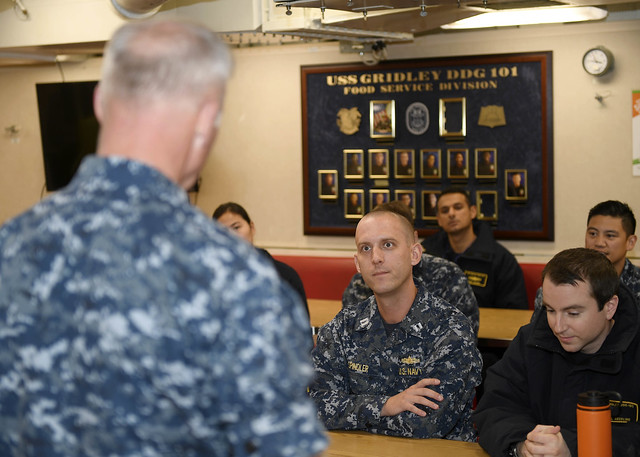 EVERETT, Wash. -  Vice Adm. Thomas Rowden, commander, Naval Surface Forces, U.S. Pacific Fleet, speaks to Sailors assigned to the Arleigh Burke-class guided-missile destroyer USS Gridley (DDG 101) during his visit to Naval Station Everett.
