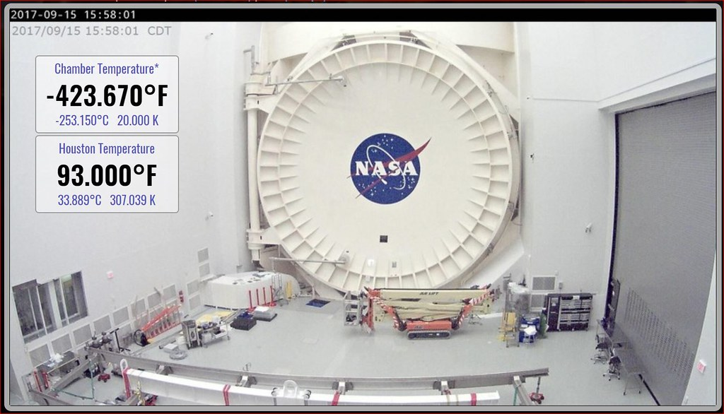Webb during cryogenic testing at JSC with approximated chamber tempurature indicated at -423F or 20Kelvins