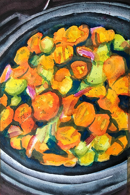 Painting of a colourful pan of tomatoes. Cropped
