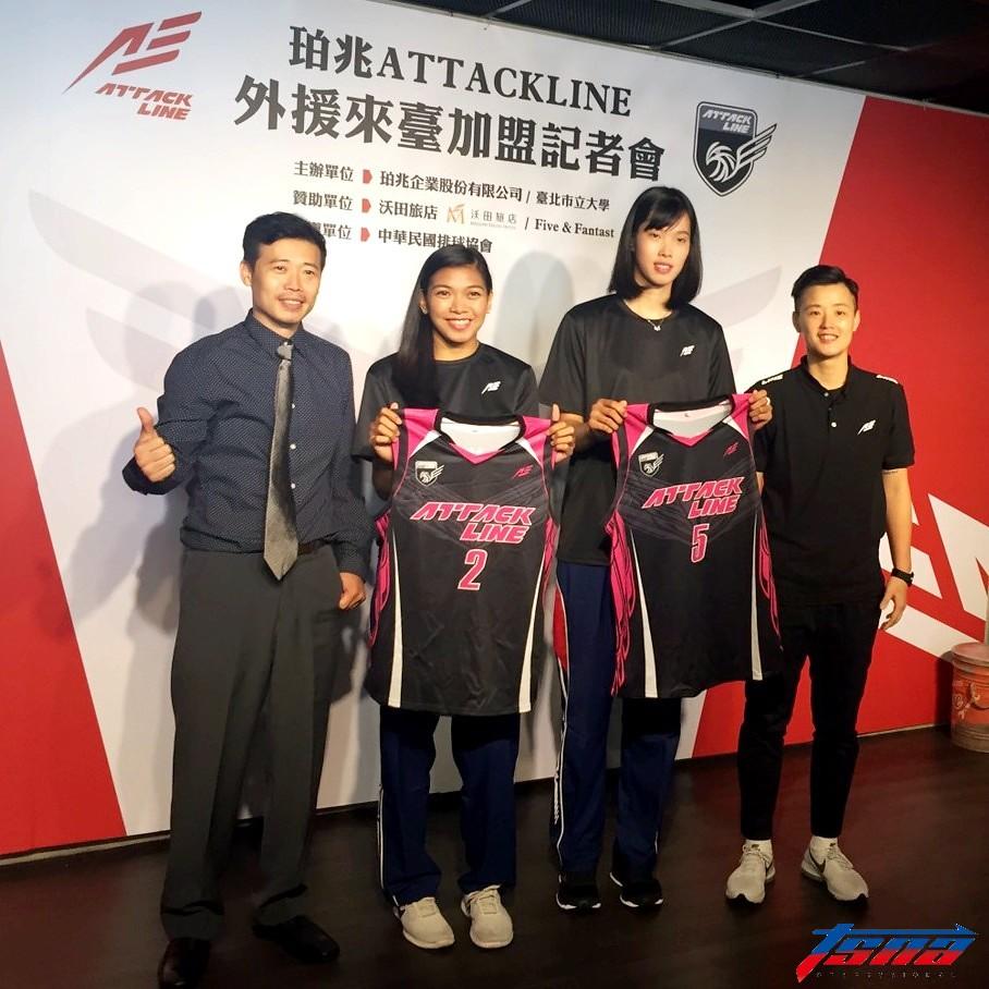 珀兆企業總經理李沛誠(圖左起)、艾萊莎、譚緹與教練鄧衍敏。(倪芝蓉/攝)
