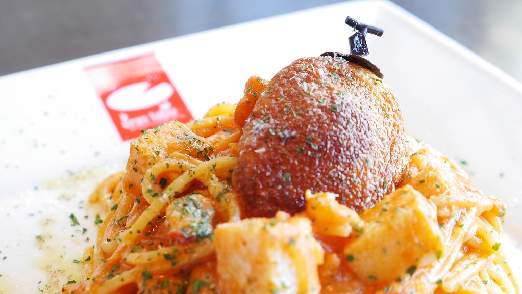 桂馬の柿天と地海老スパゲティー