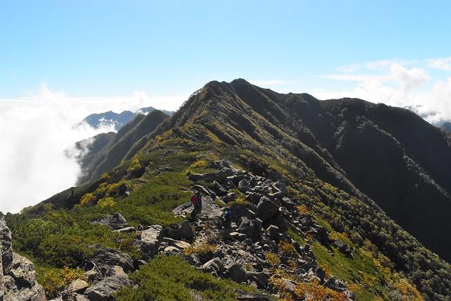 栗沢山からアサヨ峰の稜線