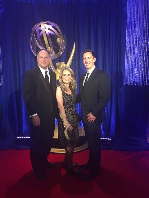 Molly Welch at the Emmy's award ceremony with Georgia Public Broadcasting's Robert Hydrick and Parker Branch