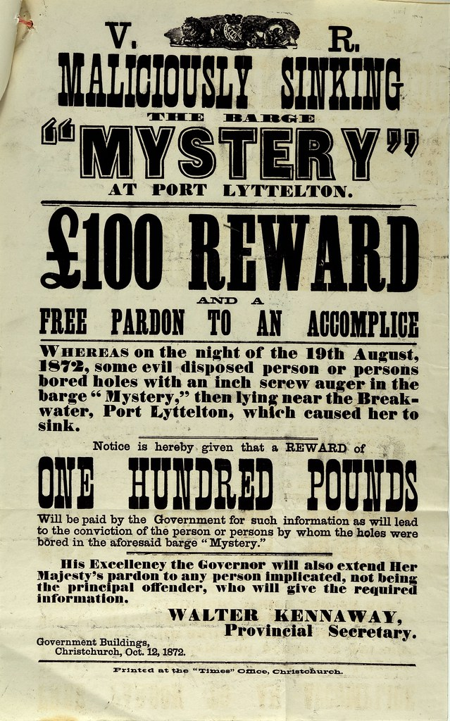 reward poster for the scuttling of the mystery in 1872 flickr