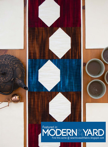 Fall Fleurish quilt table runner featured in Modern by the Yard