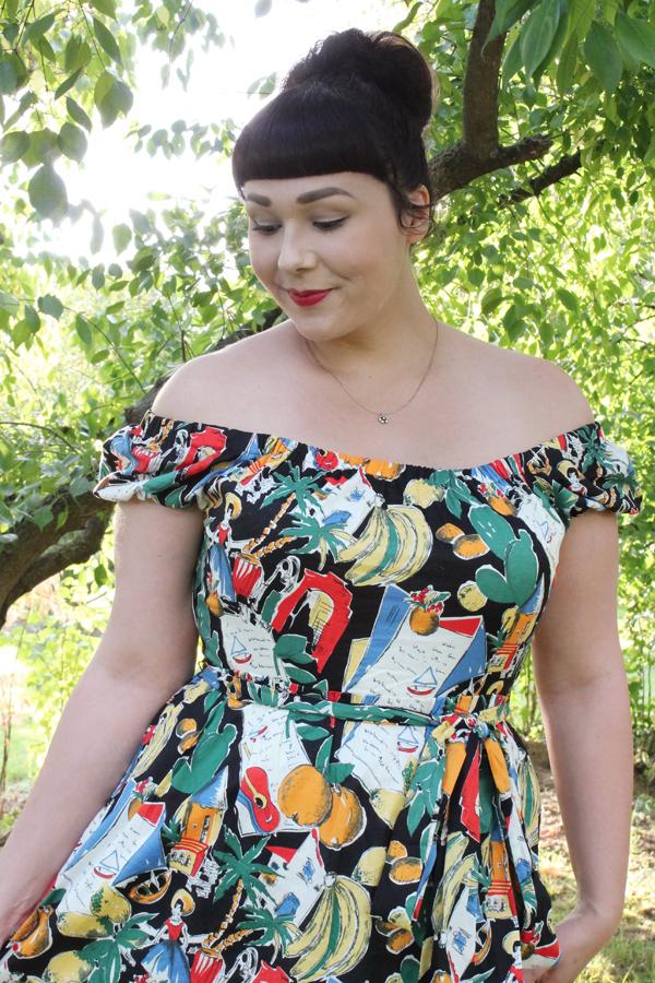 postcard print dress