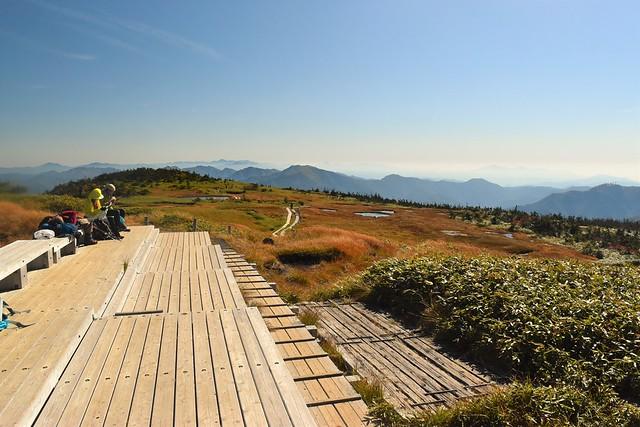 苗場山山頂の木道とベンチ