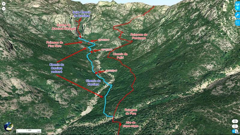 Photo aérienne 3D du secteur Figa Bona - Carciara en aval de la brèche du Carciara d'Aragali avec les tracés des différents chemins