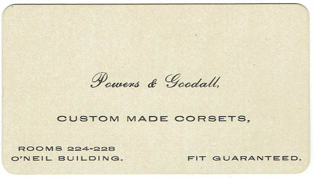 Circa 1910 Business Card for Powers & Goodall Corset Maker… | Flickr