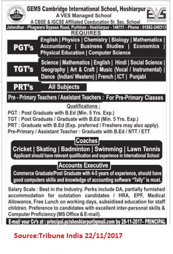 Gems Cambridge International school,PGTs,PRTs,TGTs,Hoshiarpur.