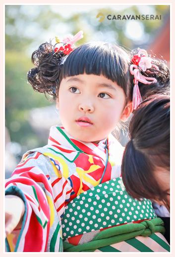 八事山興正寺で七五三写真のロケーションフォト(名古屋市) | 姉妹がおしゃれなレトロ着物で登場! | オススメ・人気の出張撮影‼