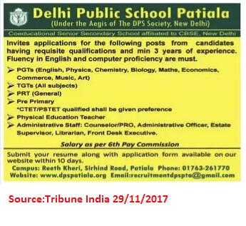 Delhi Public School,PGTs,PRTs,TGTs,Patiala.