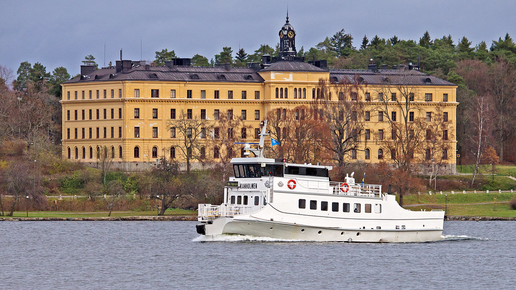 The Commuter Boat Kanholmen Passing By Campus Manilla In Stockholm By Franz Airiman