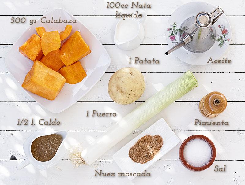 Ingredientes de la crema de calabaza