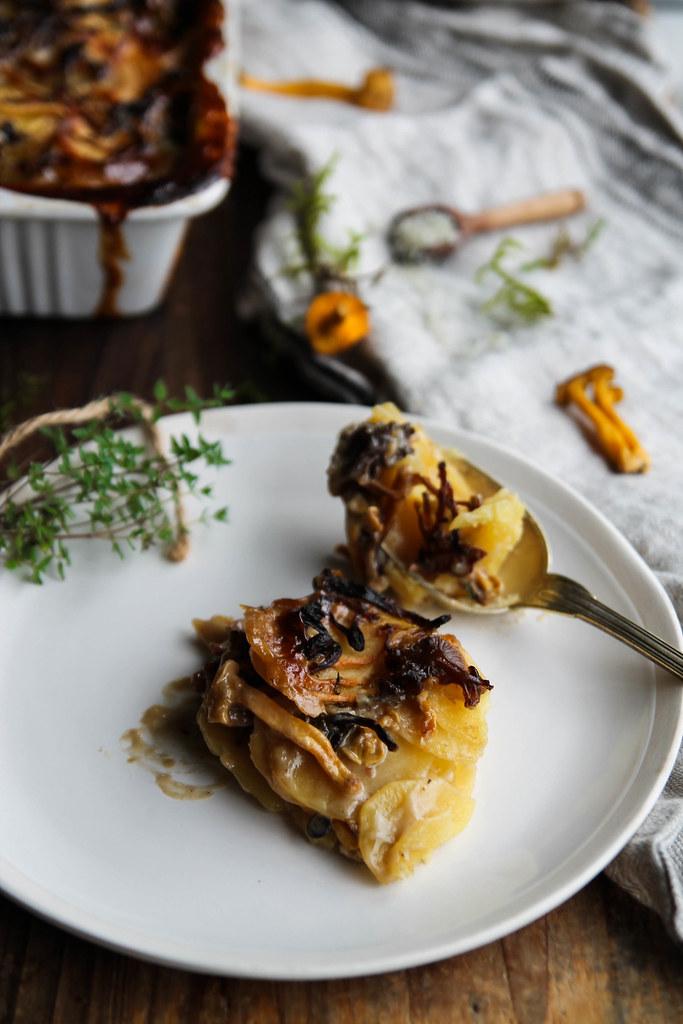 Gratin de pommes de terre aux champignons vegan