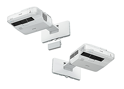 Epson's new 3LCD laser ultra short throw projectors: EB-1470Ui (left), EB-700U (right).