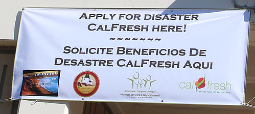 Disaster CalFresh banner outside the Sonoma County Human Services Department's office