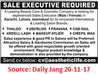 Beauty Care & Cosmetic Company,Sale Executive,Lahore