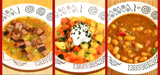 """Kartoffelsuppe mit Brotcroûtons, Kartoffel-Karotten-Eintopf mit Schnittlauchquark, Weiße-Bohnen-Gemüse-Suppe """"Serbische Art"""" - Warmes tut bei kühlen Temperaturen gut ... Fotos: Brigitte Stolle"""