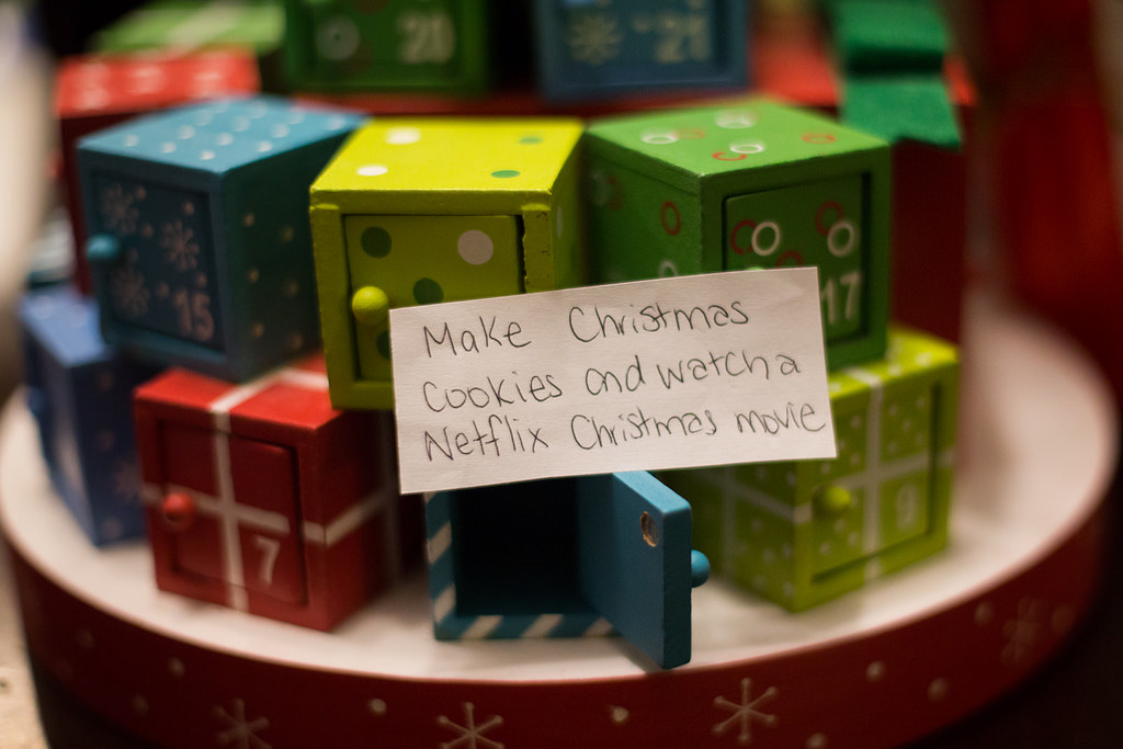 Advent calendar saying make Christmas cookies and watch a movie on Netflix