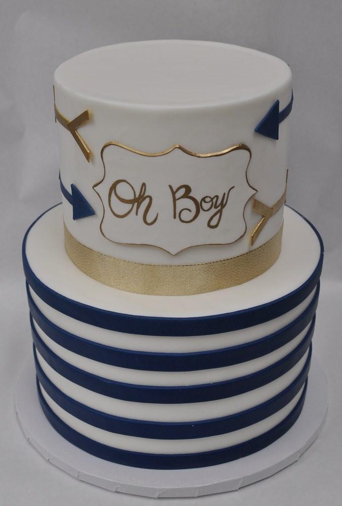... Gold And Navy U0027Oh Boyu0027 Baby Shower Cake | By Jennywenny