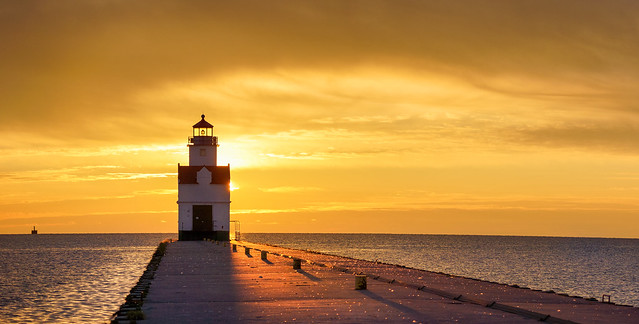 Sunrise, Kewaunee, Lighthouse, Lake Michigan, Panorama