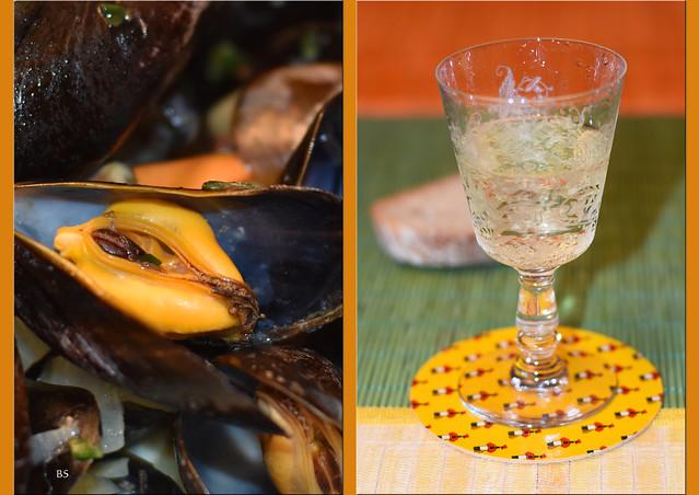 Muscheln nach Seemannsart (Moules marinières)_Weißwein, Zwiebeln, Knoblauch, Kräuter ... Foto: Brigitte Stolle