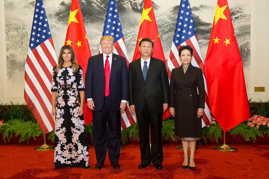 美國總統川普偕同第一夫人梅蘭妮亞出訪北京與習近平主席和彭麗媛會晤。圖片來源:ShealahCraighead / The White House