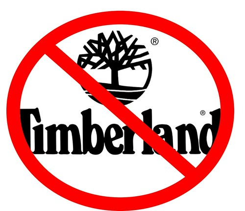 Timberland Logo in Black with a Red Slash Through it