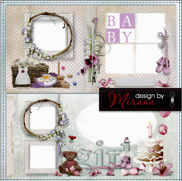 A photo album in Photoshop for newborn – my little girl