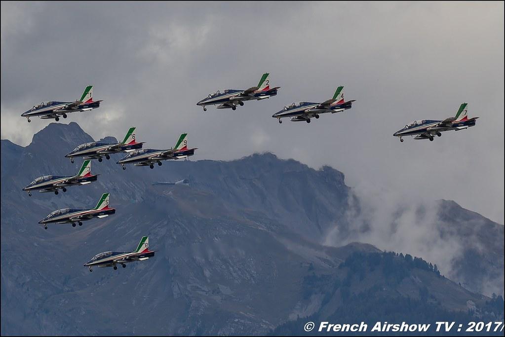 Frecce Tricolori , Pattuglia Acrobatica Nazionale , L'Aeronautica Militare MB-339 , Italy , Breitling Sion Air Show 2017 , sion airshow , montagne , Alpes suisse , Canton du Valais , Meeting Aerien 2017