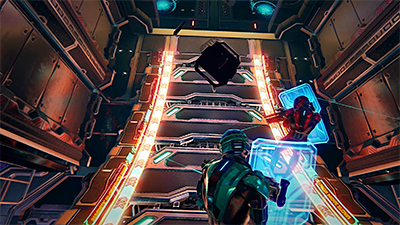 Singularity is an immersive space-themed 30-minute shooter in which players battle through robots, killer drones, and gun turrets in the zero-gravity environment of a military space station. Photo: Zero Latency Singapore.