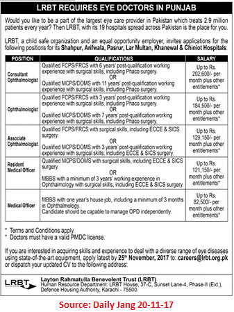 LRBT,Medical Officer,Karachi