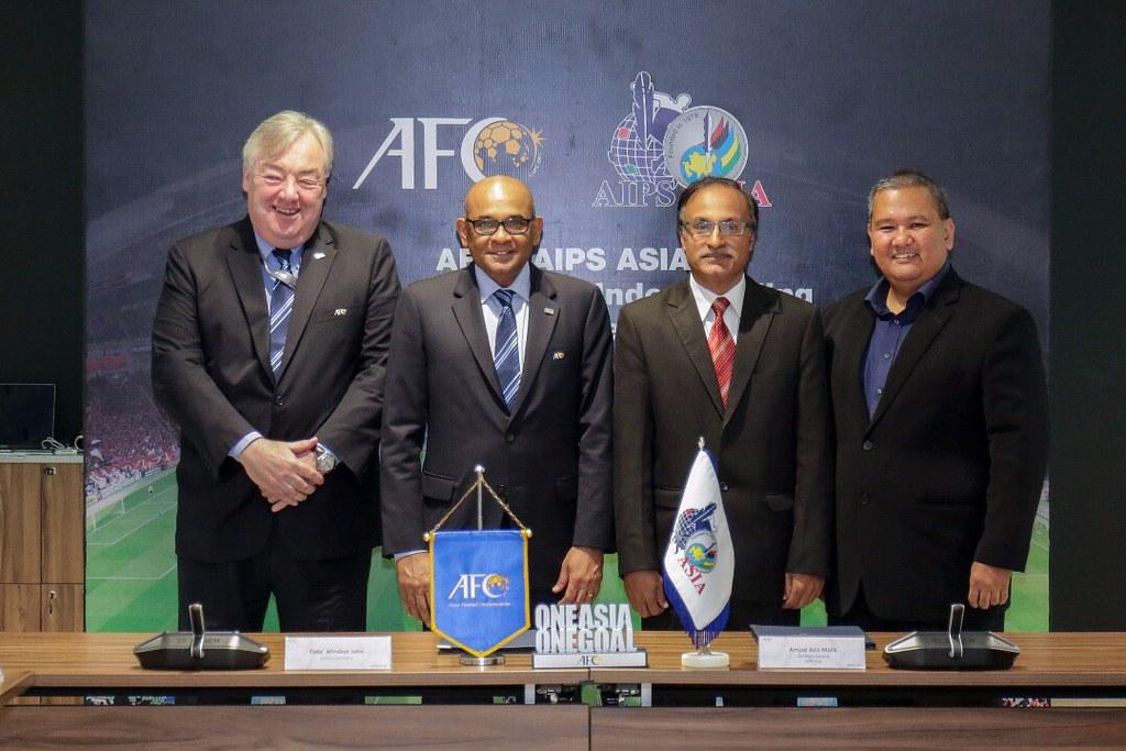 亞足聯與亞洲體記聯盟簽訂合作備忘錄。(亞足聯提供)