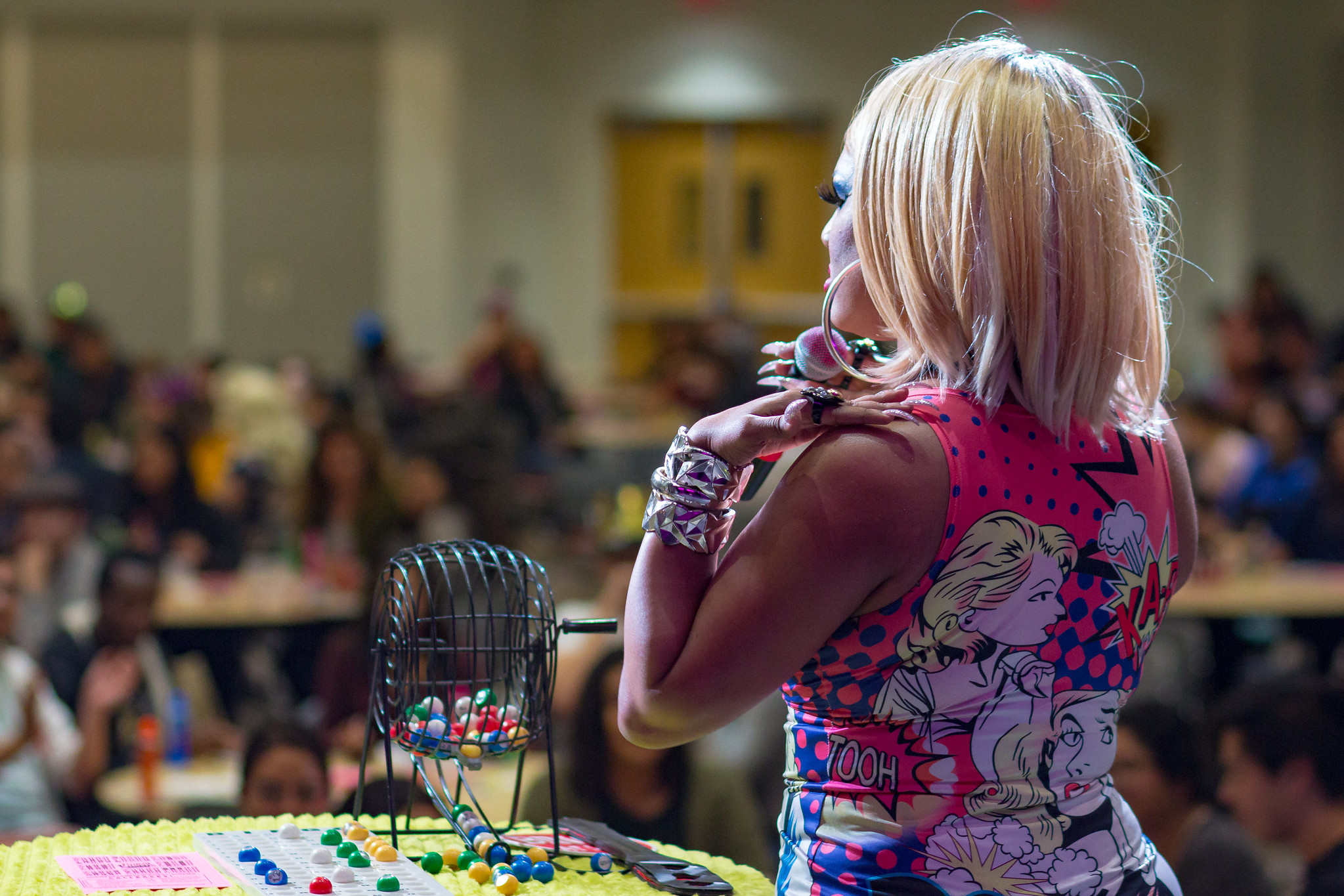 Wood looks out at the crowd during a round of Drag Bingo.