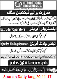 International Industries Ltd,Extruder Operators,Lahore