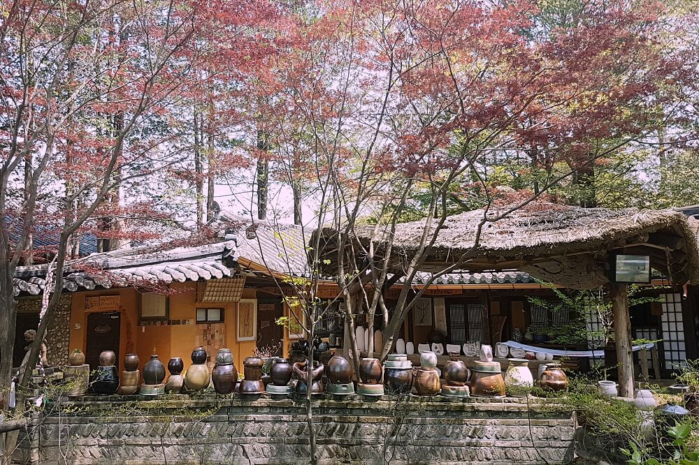 hanok house with clay pots