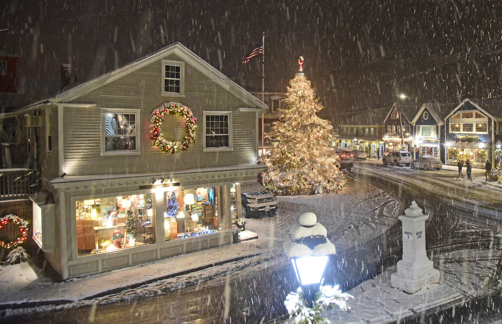 wintry magic in dock square kennebunkport during christmas prelude by robert dennis photography